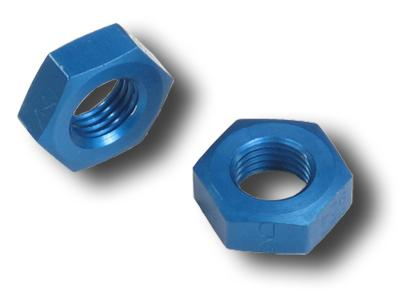 Earls 592406 Blue Anodized Aluminum 6AN Size Bulkhead Nut Set of 2