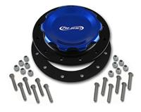 C74-717-BLK - 4-1/4 in. BLUE FILL CAP WITH BLACK ALUMINUM 12 HOLE FUEL CELL BUNG